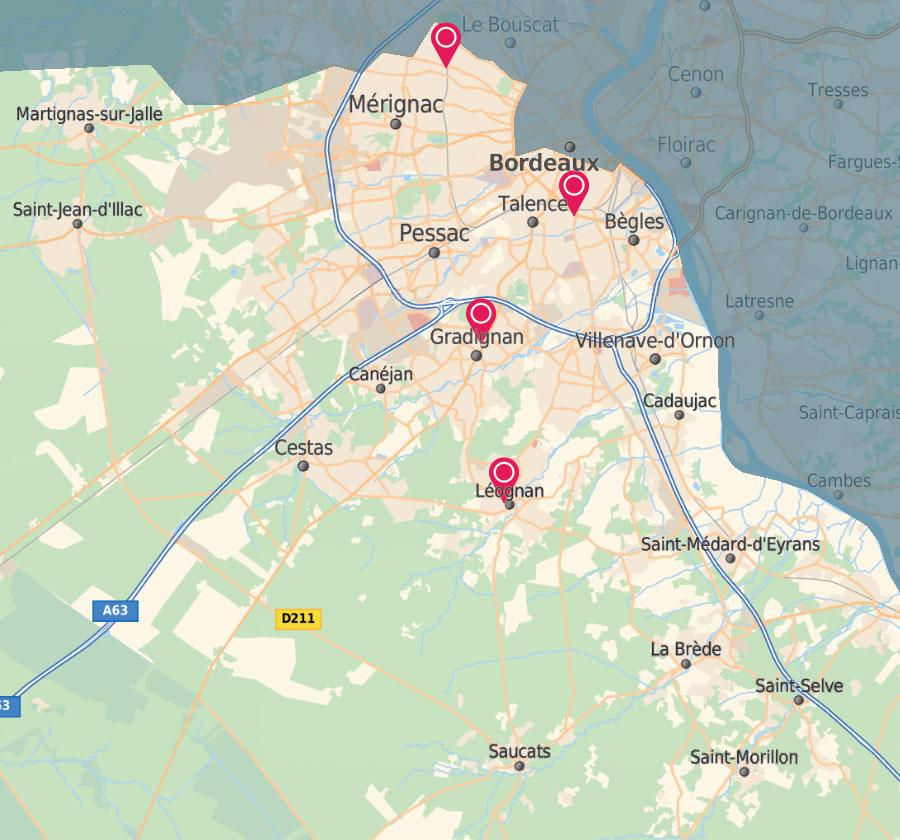 Zone couverte par Adhap Bordeaux métropole